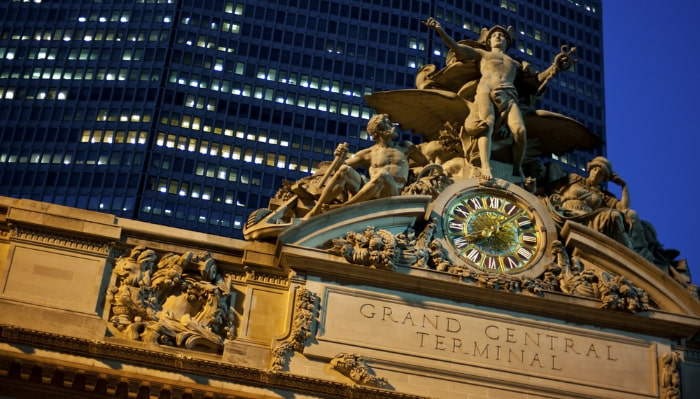 the clock and edifice of Grand Central Terminal in New York City