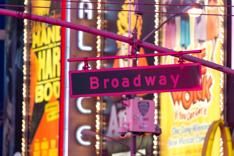 Broadway street sign in front of show posters
