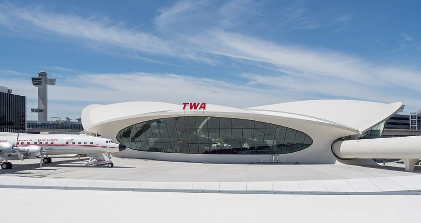exterior of the twa hotel at jfk airport