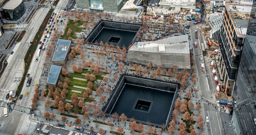 aerial view of the 9/11 memorial and museum in New York City