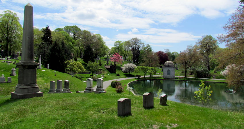 a hillside filled with tombs and mausoleums at Green-Wood Cemetery in Brooklyn