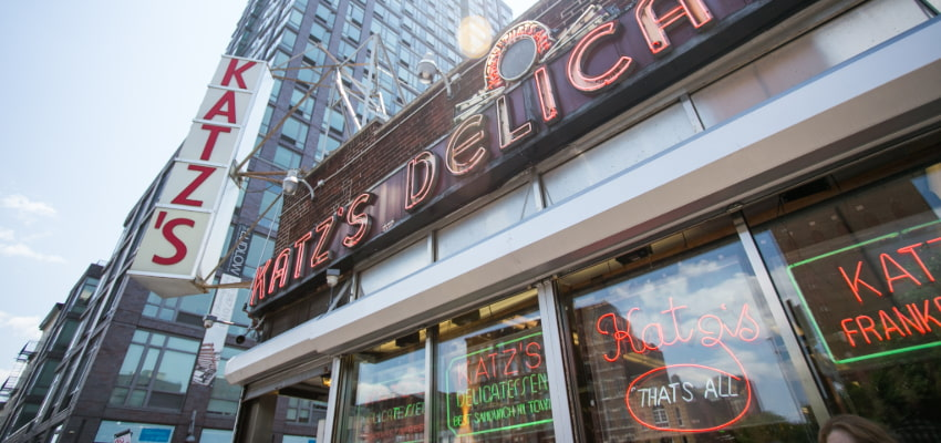 exterior of Katz Delicatessen in New York City