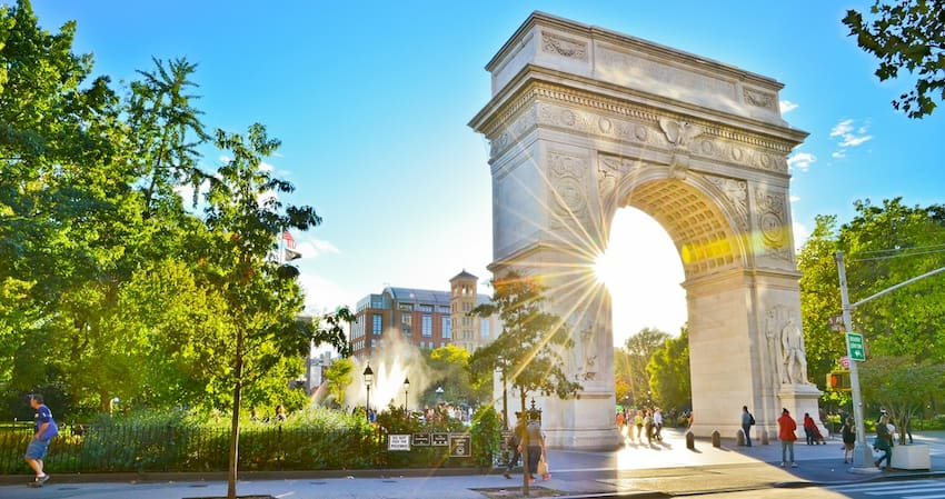 the Washing Square Arch in Washington Square Park In New York City