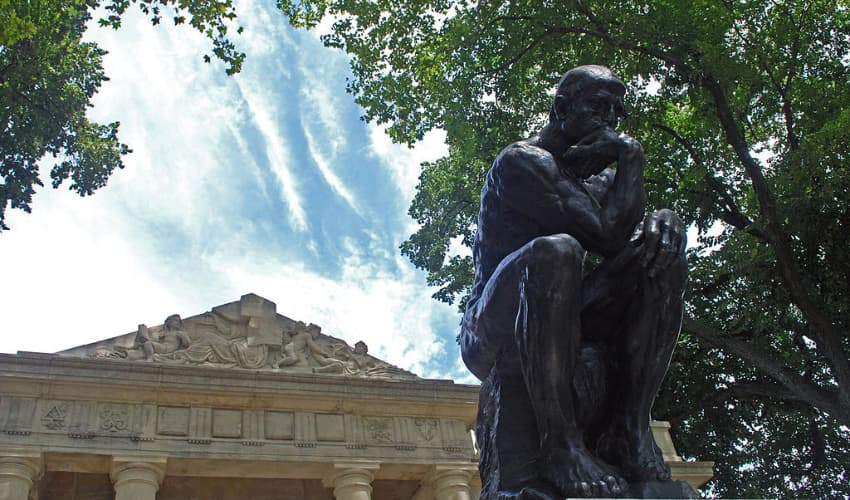 the thinker by rodin outside of the rodin museum in philadelphia