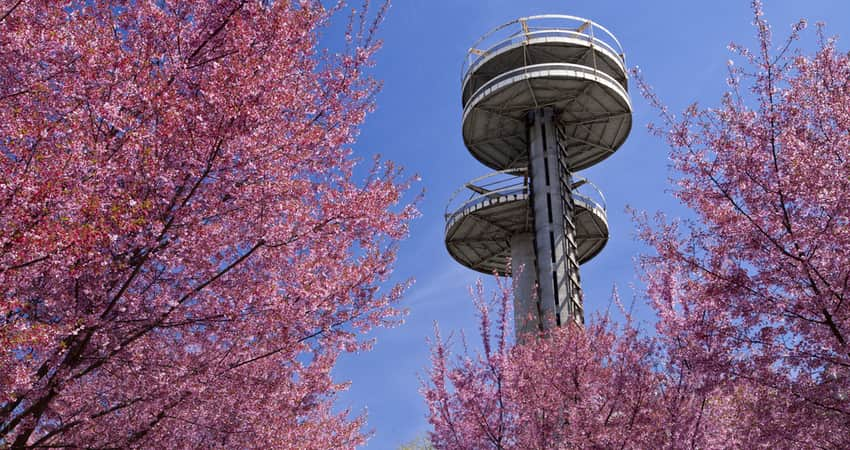 The New York Pavillion observation towers in Flushing Meadows Park.