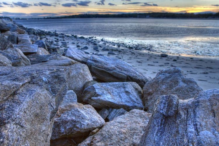 Rocks and water at Orchard Beach