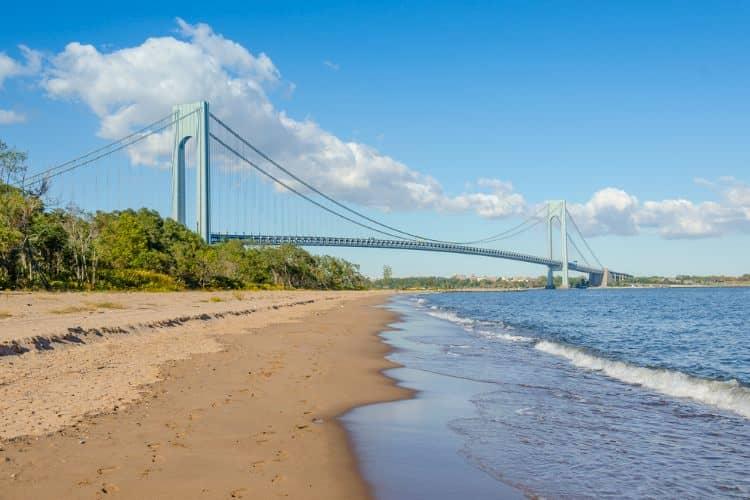Staten Island beach with bridge in distance