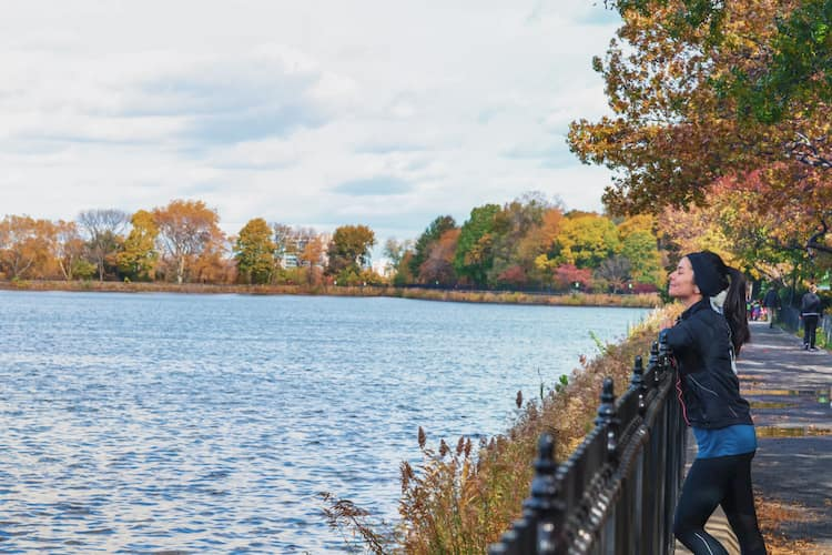 Running trail around Reservoir