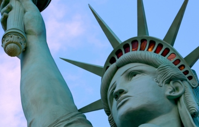 A close up of the Statue of Liberty