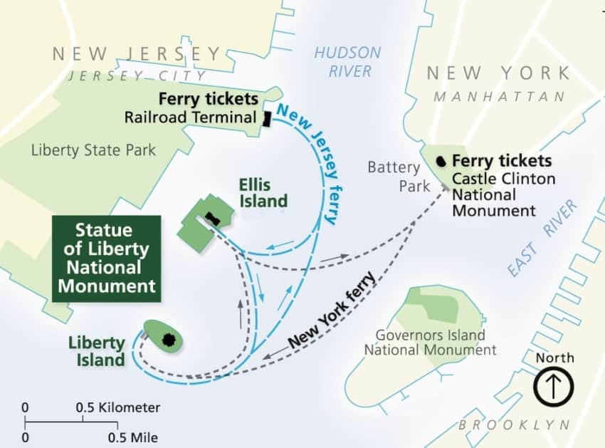 A map of the ferries routes to Ellis Island and Liberty Island