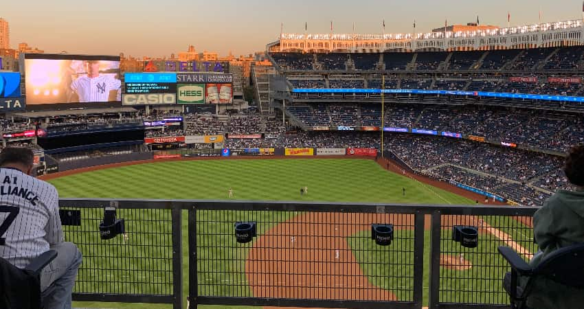 Yankees Stadium viewed from the left field seating, looking down on the field