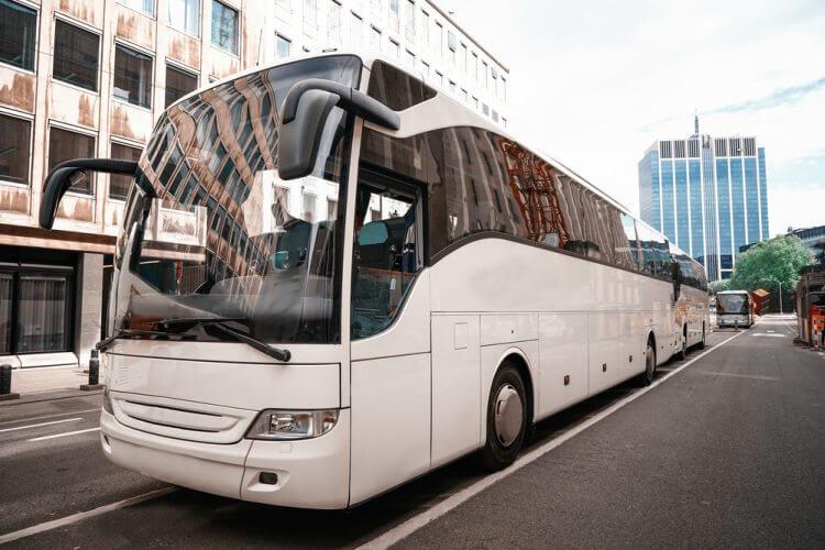 full-sized new york city charter bus