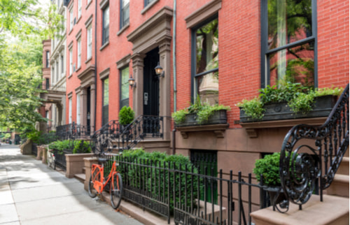 Brownstone buildings in Brooklyn Heights NYC
